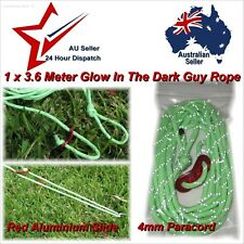 1 x Glow in The Dark Guy Line Cord 3.6m x 4mm tent awning paracord guy rope stop