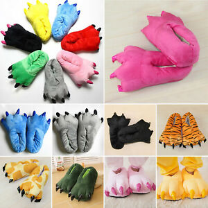 Kids Adult Animal Monster Feet Slippers Claw Dinosaur Paw Plush Cozy Comfy Shoes