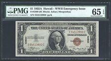 "U.S. 1935-A $1 ""HAWAII""  WWII EMERGENCY SILVER CERTIFICATE CERTIFIED PMG 65-EPQ"