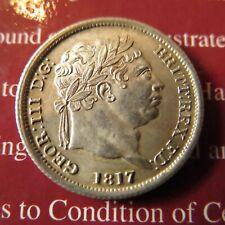 More details for george iii milled silver shilling 1817 laurel bust. spink 3790
