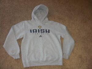 NOTRE DAME FOOTBALL gray Hoodie Sweatshirt men's Small