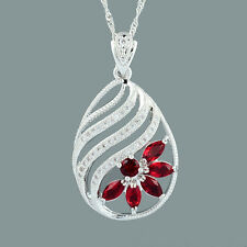 Schmuck CZ 18K White Gold Plated Red Ruby Marquise Cut Pendant Free Chain