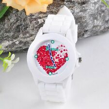 2016 Women Silicone Jelly Red Heart petals Quartz Analog Sports Wrist Watch