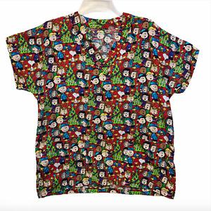 Christmas Charlie Brown Snoopy Woodstock Peanuts Red Scrub Shirt Womens Small
