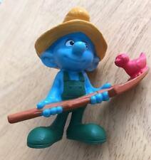 "Blue White Green Humor 3"" Smurf FARMER Figurine Hard Plastic Fun Collector Item"