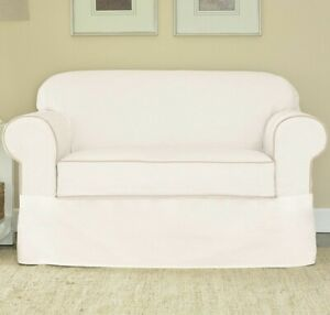 Sure Fit spectator canvas 2-Piece loveseat Slipcover, White tan washable