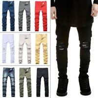 Mens Skinny Super Stretch Fit Ripped Jeans Destroyed Denim Pants All Waist UK