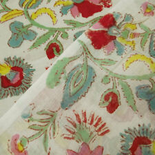 5 Yard Fabric Soft Cotton garments use had block print fabric-Red Flower Anokhi