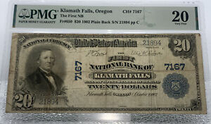1902 $20 Klamath Falls, Oregon Ch#7167 Plain Back Fr.650 PMG 20