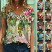 Summer Women Casual Floral Printing T Shirt Short Sleeve V Neck Blouse Loose Top