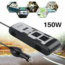150W Car Power Converter Inverter DC 12V to AC 110V Charger w/ 2 Outlets and USB