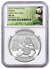 2017 China 10 Yuan 30g Silver Panda NGC MS69 ER Exclusive Panda Label SKU43849
