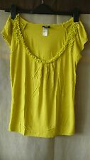 H&M viscose yellow green top with cap sleeves size XS