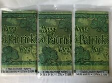 3 Lucky Shamrock Clover St.Patrick's Day Plastic Tablecloth Tablecover 84� x 54�