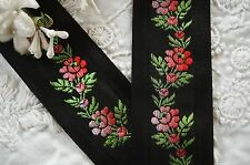 1y VTG PINK BLACK FLOWERS SILK JACQUARD GROSGRAIN RIBBON TRIM ROSES FRENCH DRESS
