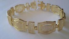 New item gold plated .925 Sterliing Silver Micropave bracelet simulated diamond