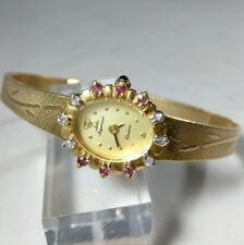 "Vintage Jules Jurgensen Natural Diamond Ruby Womens Watch Italy Quartz 7"" wrist"