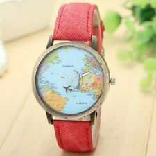 ROSE Travelling World Map Plane Pattern Watches Denim Quartz Casual Hipster