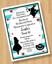 10 Alice in Wonderland Baby Shower Birthday Bridal Invitations Sweet 16 Teal