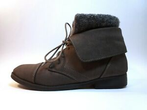 MADDEN GIRL Women's RUXBEN Gray Lace Up Knit Cuff Ankle Boots Booties Shoes 8M