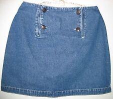 Women's S. C. Surplus Denim Blue Jean Skirt Size 9/10 100% Cotton 4 Button Flap