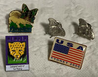 San Diego Zoo, Wild Animal Park, USA Sydney 2000 And 2 Butterfly Pins Total Of 5