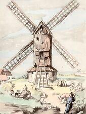 AQUARELLE COULEUR VIEUX MOULIN A VENT / Moulin du Drogland à Winnezeele Nord