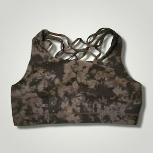 Torrid Active 2 Sports Bra Strappy Back Moisture Wicking Marbled Black & Gray