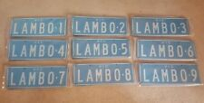 victorian personalised number plates complet set. LAMBO 1 TO LAMBO9 vic custom