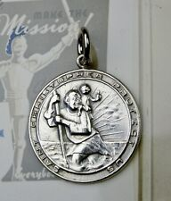 RARE Vintage Sterling WWII U.S. Army Chaplins Saint Christopher Protection Medal