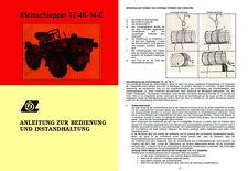 Bedienungsanleitung Ersatzteilliste Kleinschlepper TZ4K14C TZ-4K-14-C TZ 4K 14 C