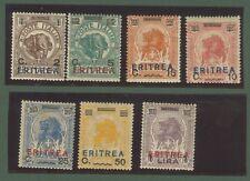 Colonie. ERITREA. Anno 1924. Catalogo Sassone serie 18. Sette valori nuovi