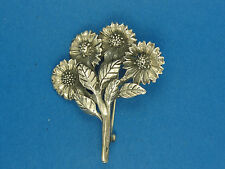 """925 Flower Bouquet Brooch Pin 2"""" Vintage Early Mid Century Taxco Mexico Sterling"""