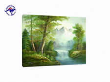LANDSCAPE OIL PAINTING WATERFALL IN THICK FOREST AT TWILIGHT NATURALISM