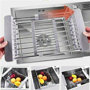 Telescopic Sink Drain Basket Kitchen Home Storage Filter Rack Vegetables Dish UK