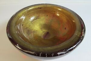 VINTAGE MURANO ART GLASS ARCHIMEDE SEGUSO RUBY RED GOLD FLECKS BULLICANTE BOWL