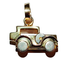 "Fully Hallmarked 9ct 2 Colour Gold Traditional ""Car"" Charm With Moving Wheels"