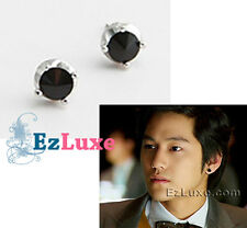 Korean drama boys over flowers Kim Bum Black Onyx Earrings round crown stud MIB