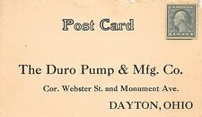 B61/ Dayton Ohio Postcard c1910 Duro Pump & Manufacturing Company