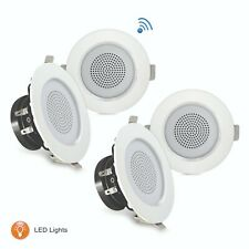 3'' Bluetooth Ceiling/Wall Speakers, 4 2-Way Speakers with Built-in LED Light