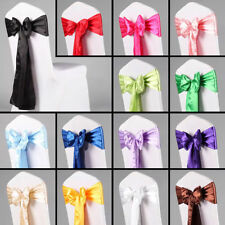 "Lot of 50 6""x108"" Satin Chair Cover Sashes Bow Wedding Party Decor Event Banquet"