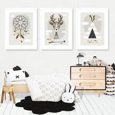 Bild Set Kunstdruck A4 Tribal Reh Traumfänger Tipi Kinderzimmer Deko Geschenk