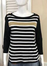 Ralph Lauren Women's Size PL Sweater Top Petite Striped Boatneck Gold Buttons