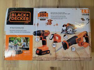 Black & Decker 20V MAX Cordless Li-Ion 4-Tool Combo Kit 2 Batteries DAMAGED BOX