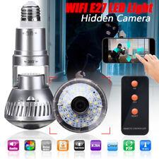 E27 Ampoule Espion Caché HD Caméra CCTV Cam WIFI Détecteur Mouvement Nuit Vision