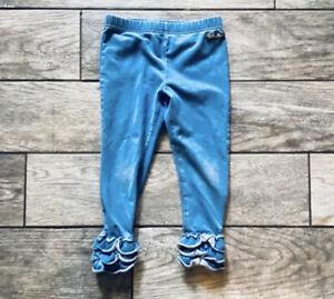 Matilda Jane girls toddler size 4 blue jean stretchy soft ruffle hem pants
