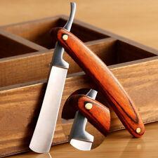 Vintage Wooden Handle Men Straight Edge Barber Razor Folding Shaving Knife