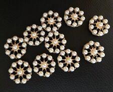 10 Gold Pearl Flower Flatback Button Embellishment Craft Wedding Embellish