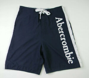 Abercrombie & Fitch Swim Trunks Men's Medium Blue Logo Spell Out Embroidered