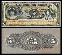 "Mexico 5 Pesos, 1897-1911 P-S419r Serie ""DU"" Sonora Bank (XF) BANKNOTE"
